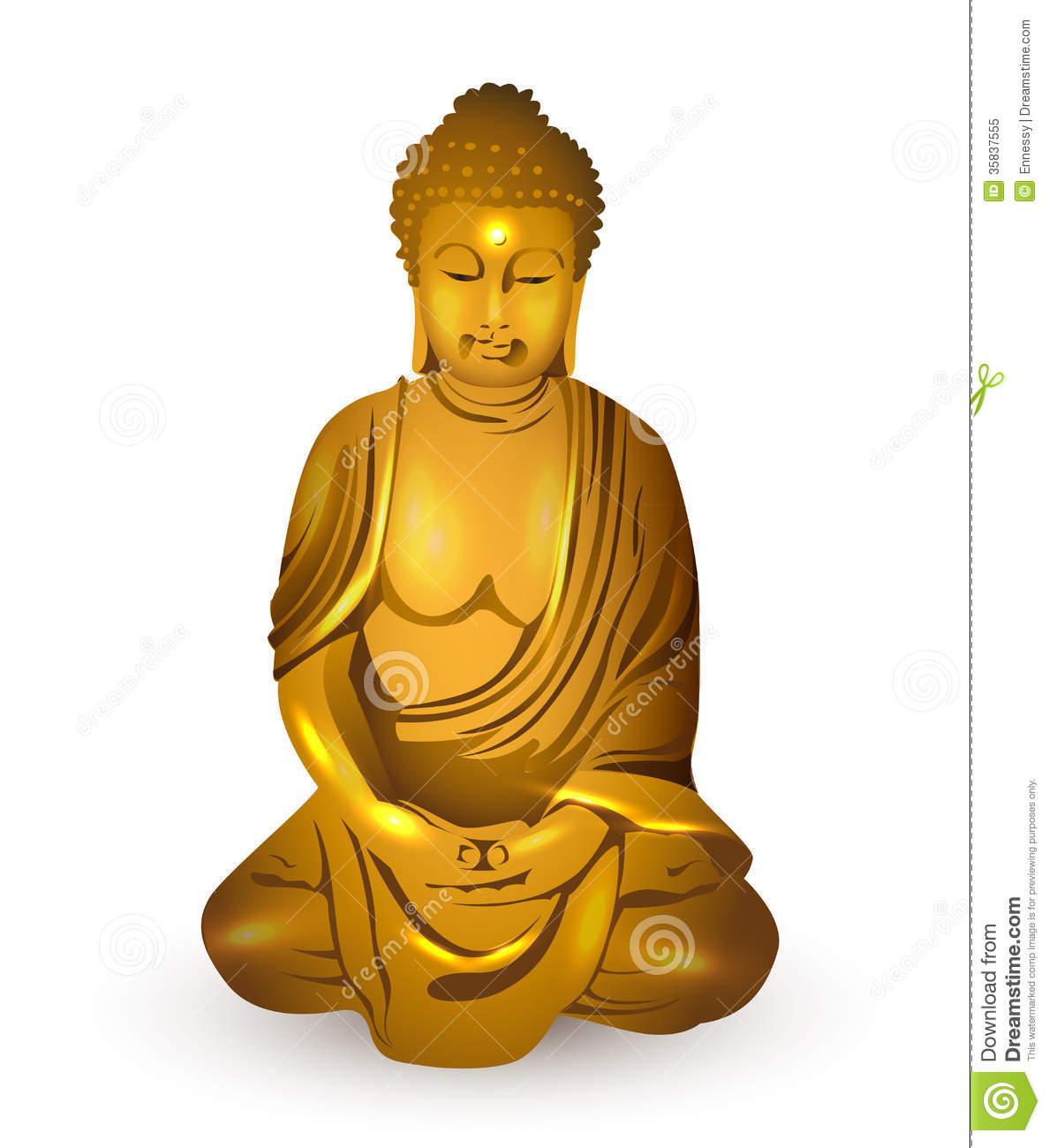 Gold Buddha, Vector Royalty Free Stock Photo.