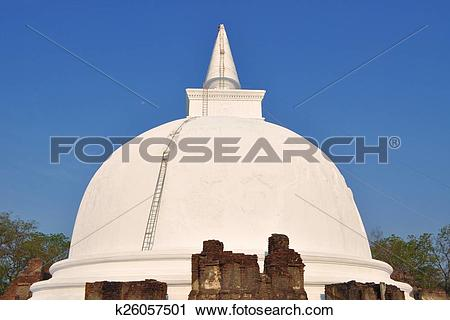 Stock Photography of Kiri Vihara Buddhist Stupa, Polonnaruwa, Sri.