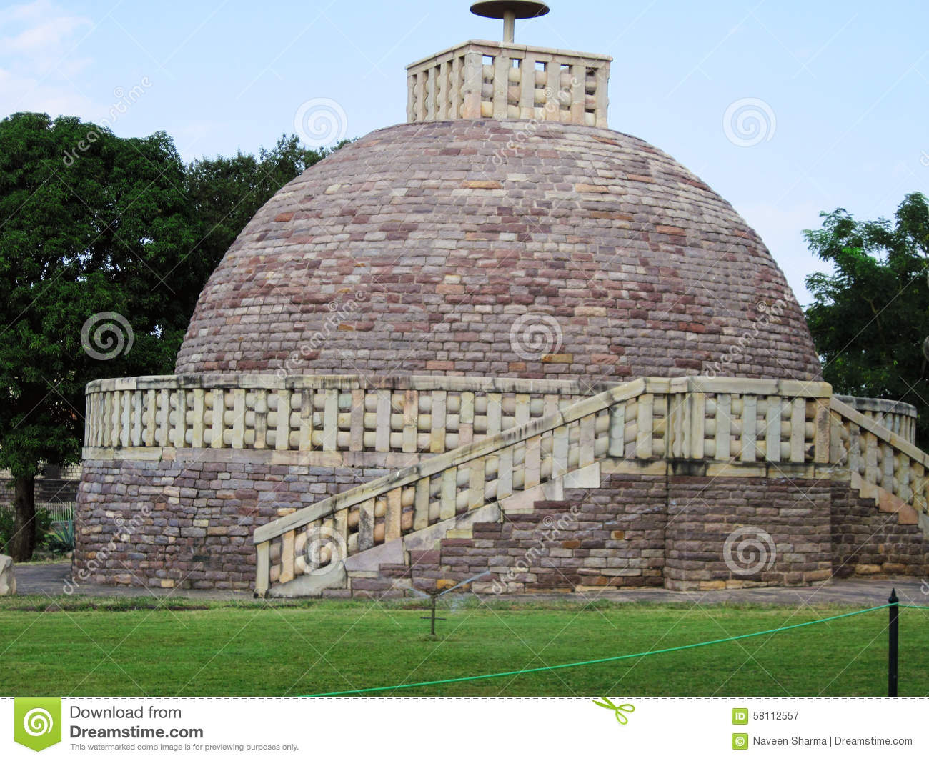 Ancient Buddhist Stupas In Sanchi Royalty Free Stock Photo.