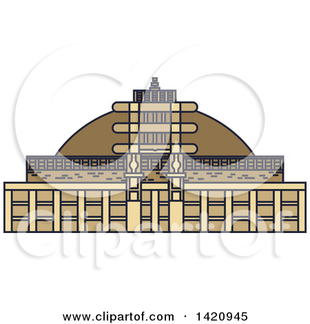 Clipart of a India Landmark, Buddhist Great Stupa.