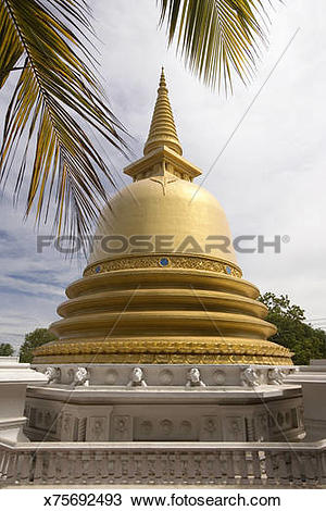 Stock Photo of Golden Buddhist stupa, Dambulla, Sri Lanka.