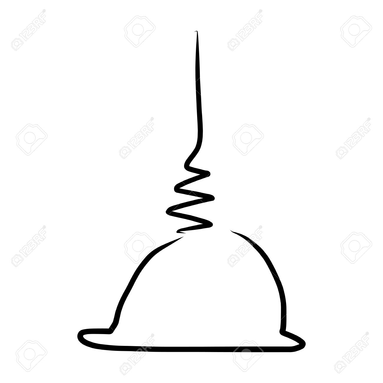 Hand Drawing Design Element Buddha Stupa Royalty Free Cliparts.