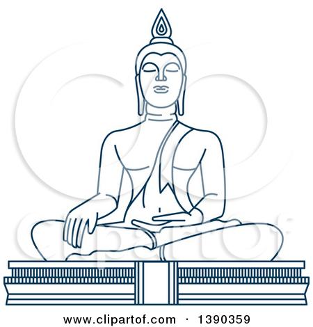 Clipart of a Blue Thai Travel Landmark, Big Buddha Temple.