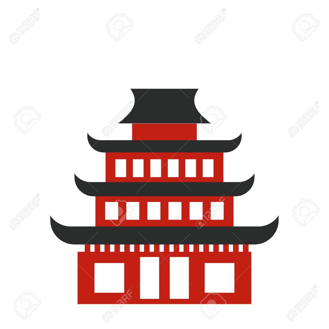 Pagoda Flat Icon. Buddhist Temple Isolated On White Background.