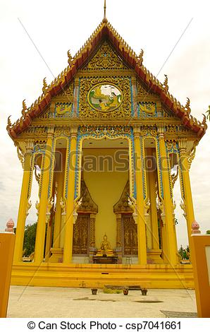 Stock Photography of Pediment of a Buddhist temple.
