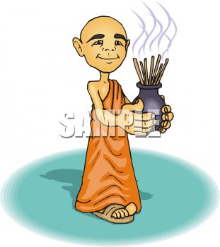 Royalty Free Clip Art Image: Buddhist Monk Holding Incense.