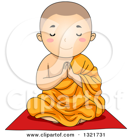 Clipart of a Buddhist Boy Sitting and Praying.