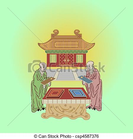 Clip Art Vector of buddhist monks and temple.