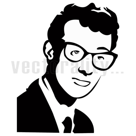 Buddy Holly Rock And Roll Vector Art File Instant Download Ai / eps / svg /  pdf / dxf / png / jpg Formats For Design Cut Print.