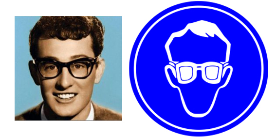 Buddy Holly Wears Saftey Glasses.