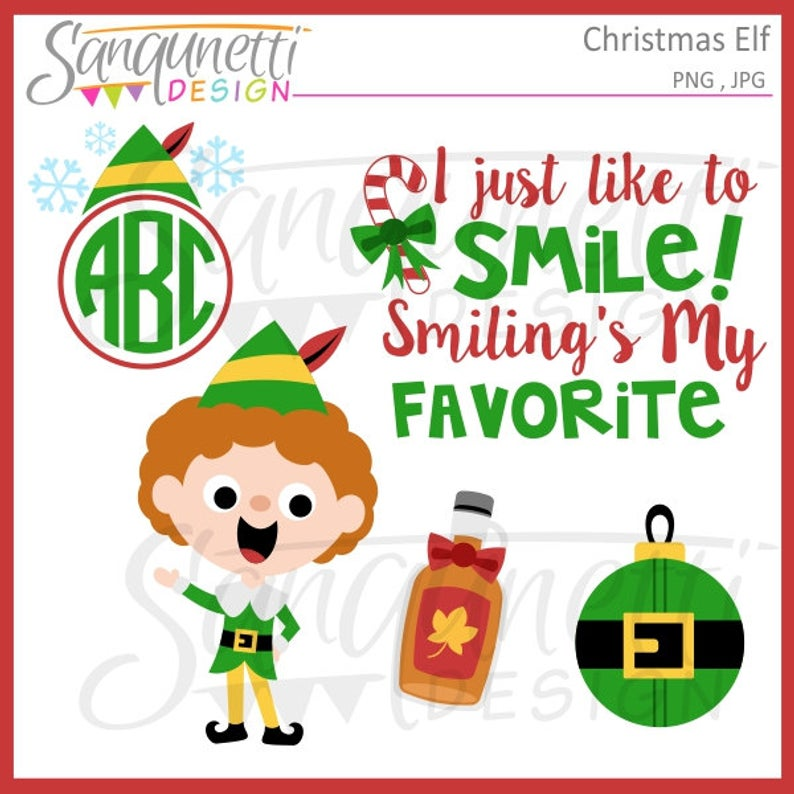 Christmas Buddy Elf Clipart, winter holiday graphics, instant download.