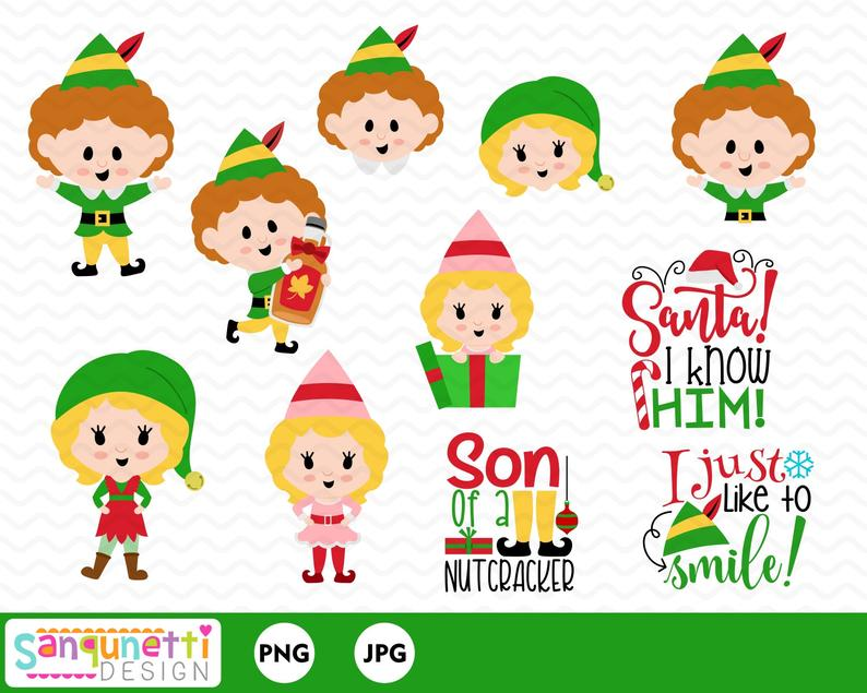 Christmas buddy elf clipart, holiday lettering clip art instant download.