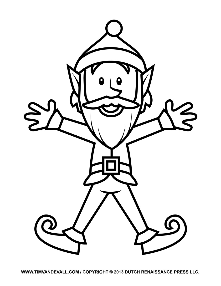 Elf Outline With Buddy The Outline Free Clipart : Elf Outline.