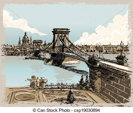 EPS Vectors of Vintage Hand Drawn View of Lions Bridge in Budapest.