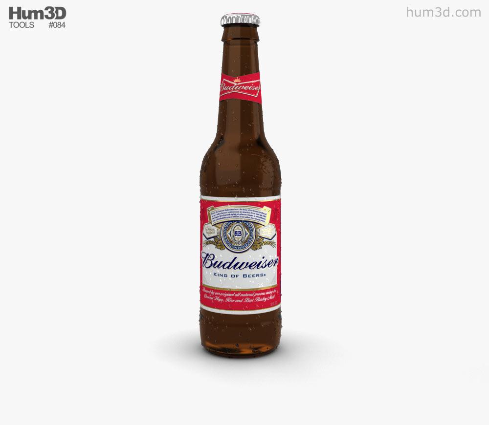 Budweiser Beer Bottle 3D model.