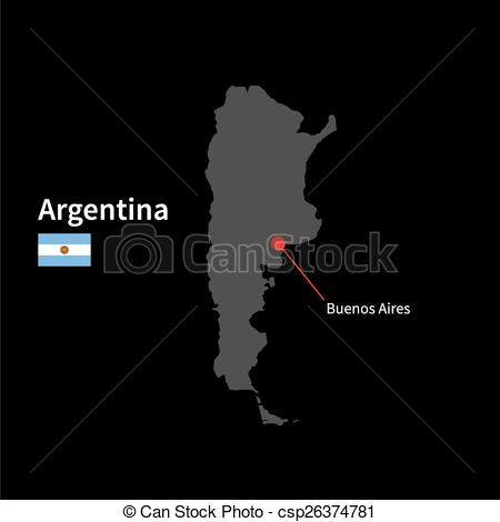 Vector of Detailed map of Argentina and capital city Buenos Aires.