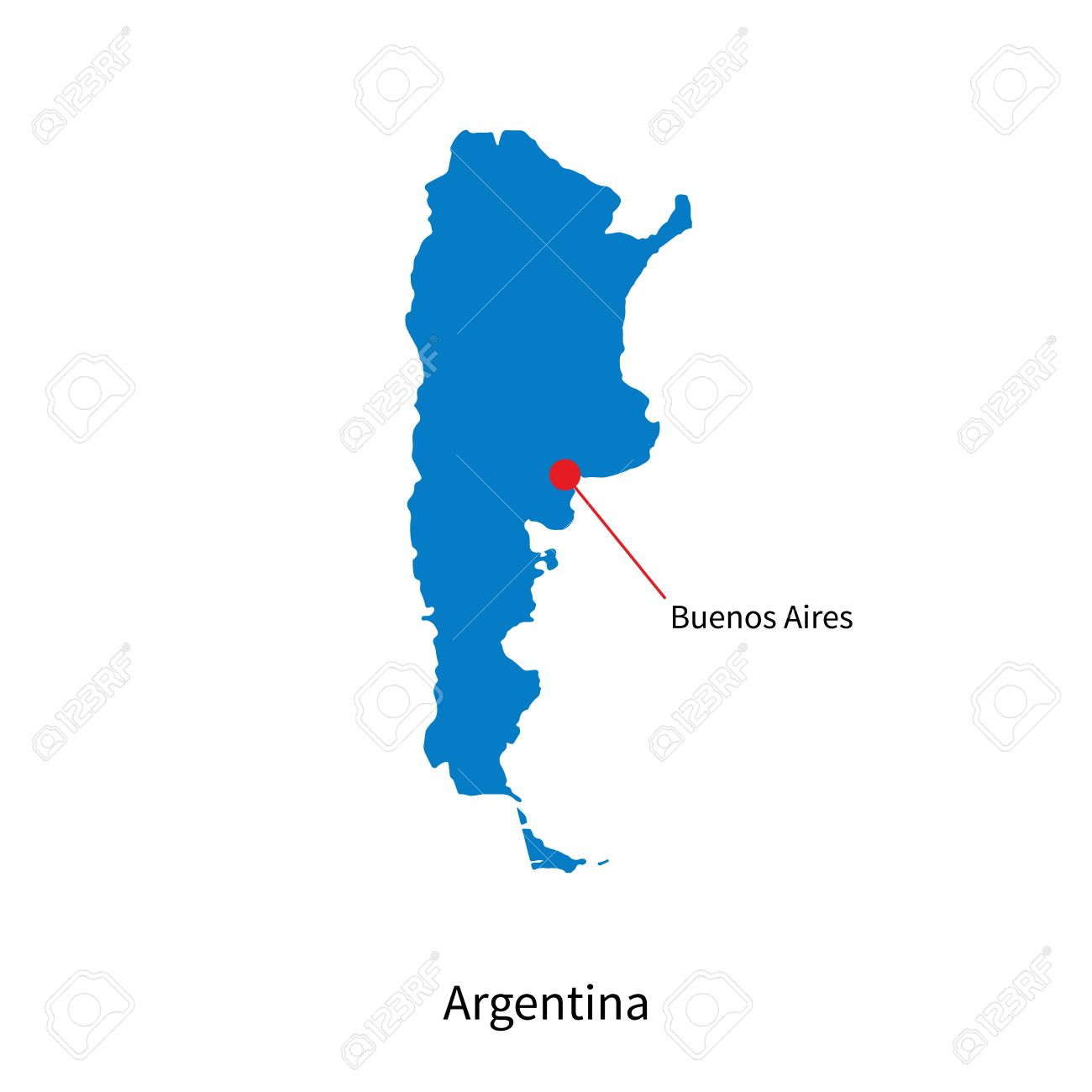 Detailed Vector Map Of Argentina And Capital City Buenos Aires.