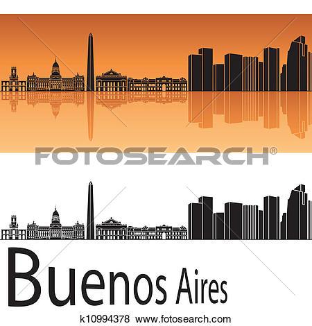 Clip Art of Buenos Aires skyline in orange background k10994378.