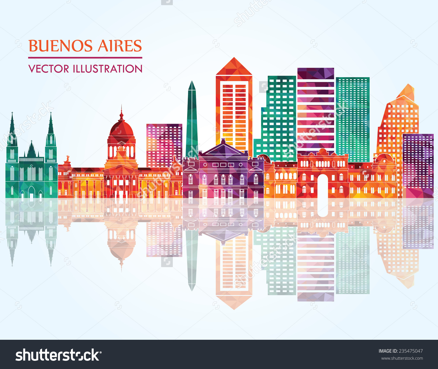 Buenos Aires Skyline Detailed Silhouette Vector Stock Vector.