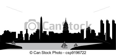 Clip Art of buenos aires skyline with the harbour in black and.