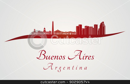 Buenos Aires skyline in red stock vector.