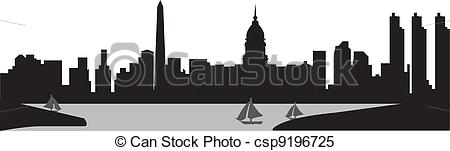 Clipart Vector of buenos aires skyline with the harbour in black.