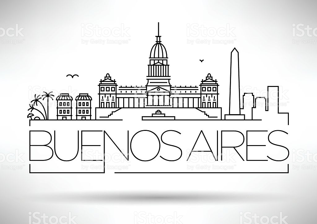 Minimal Buenos Aires City Linear Skyline With Typographic Design.