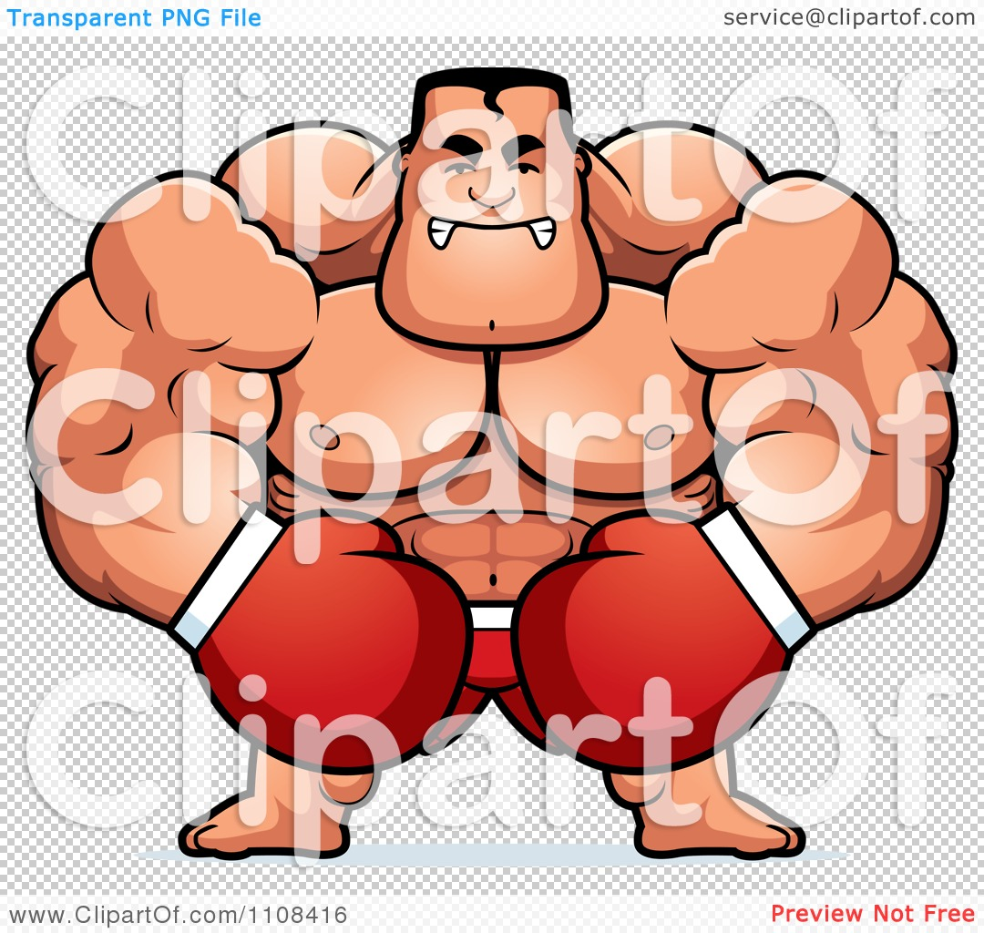 Clipart Angry Buff Boxer.