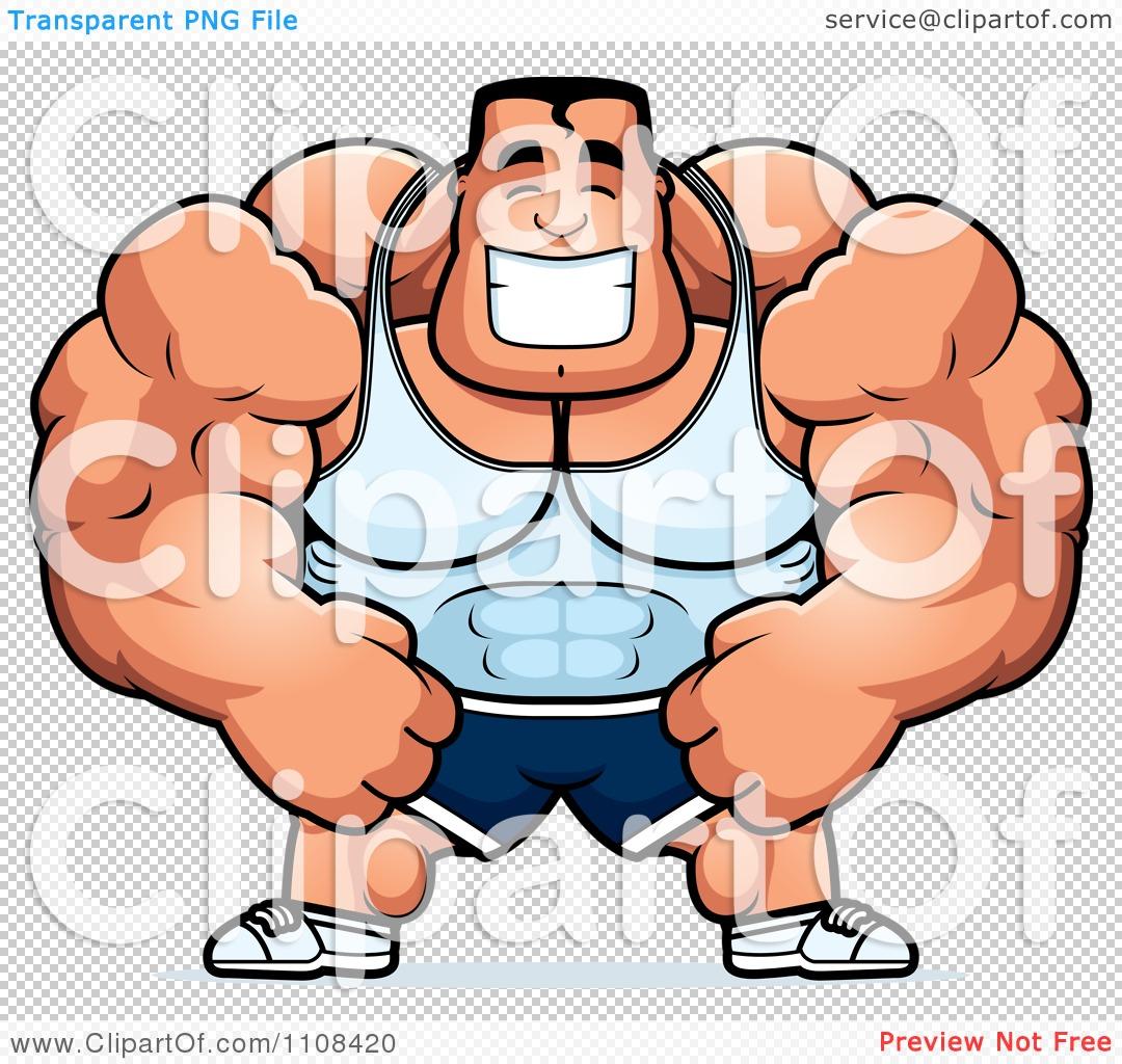 Clipart Happy Buff Bodybuilder.