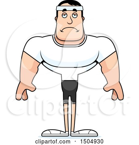 Clipart of a Sad Buff Caucasian Male Fitness Guy.