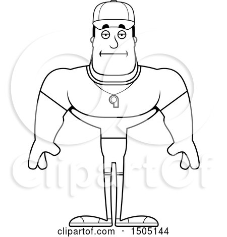Clipart of a Black and White Bored Buff Male Coach.