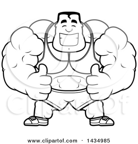 Clipart of a Cartoon Black and White Lineart Buff Beefcake Muscular.