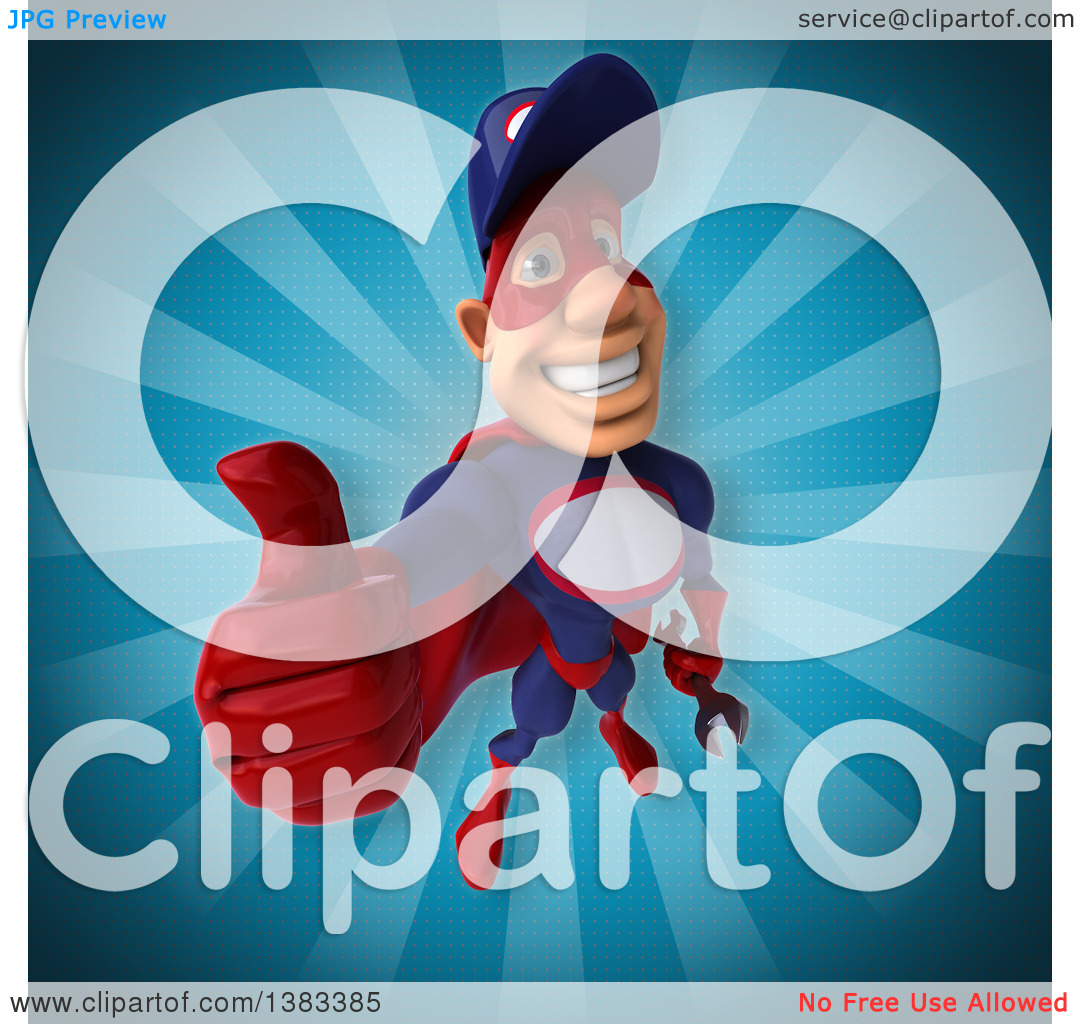 Clipart of a 3d Buff White Male Super Hero Mechanic in Red and.