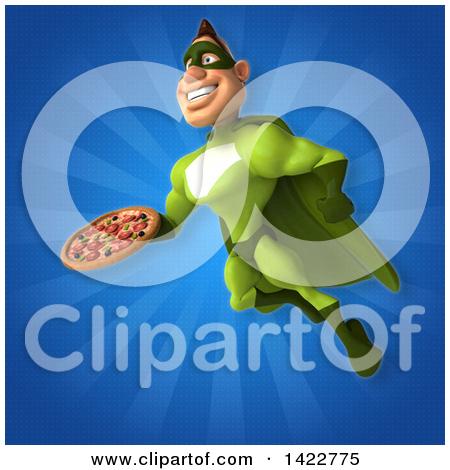 Clipart of a 3d Buff White Male Green Super Hero.