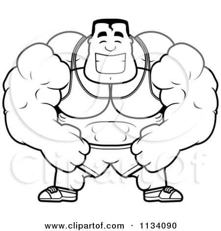 Cartoon Clipart Of An Outlined Happy Buff Bodybuilder.