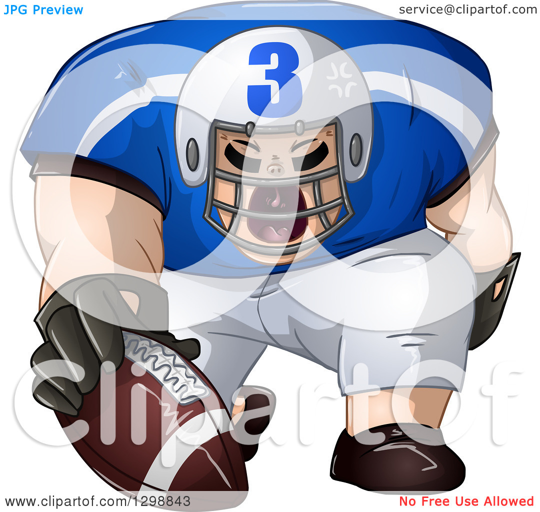 Clipart of a Buff White Male American Football Player Shouting and.