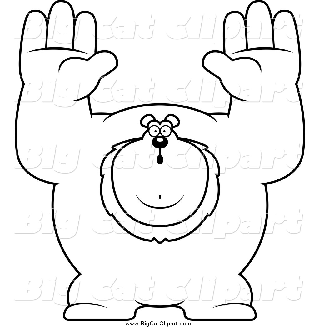 Big Cat Cartoon Vector Clipart of a Black and White Buff Lion.