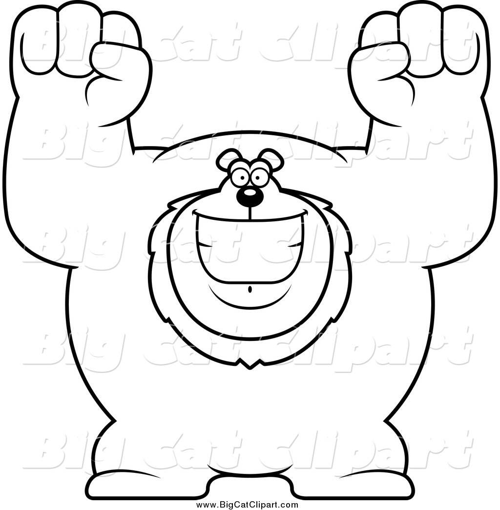 Big Cat Cartoon Vector Clipart of a Black and White Cheering.
