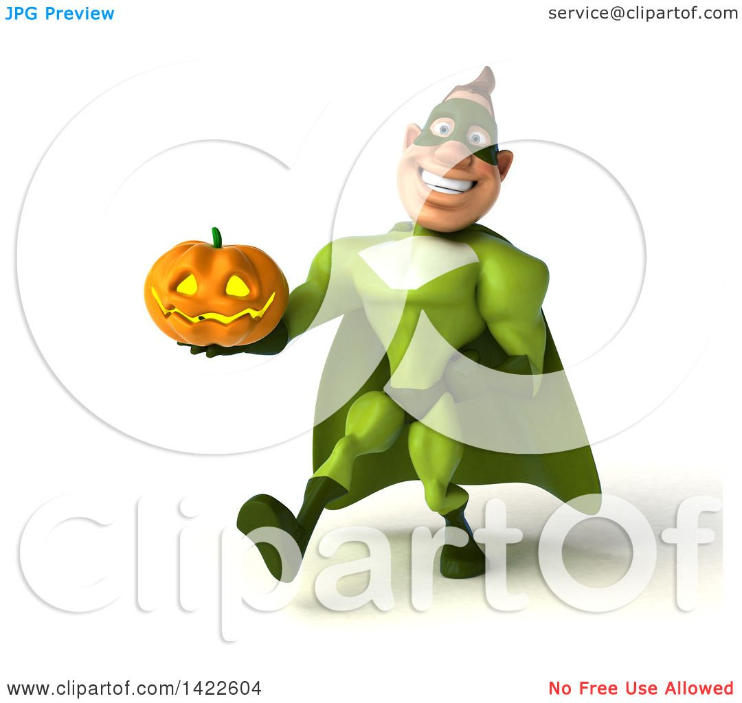 Clipart of a 3d Buff White Male Green Super Hero, on a White.