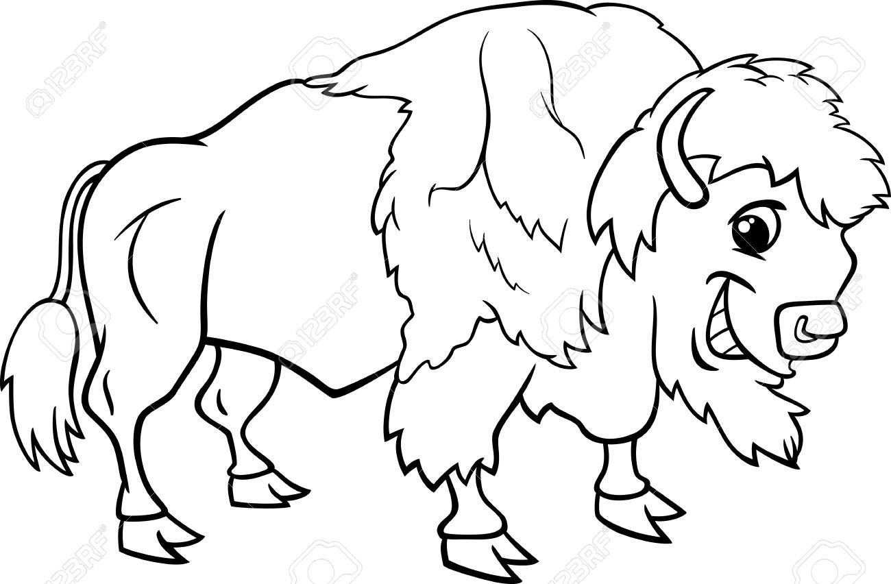 Black and White Cartoon Illustration of Funny Bison or American...