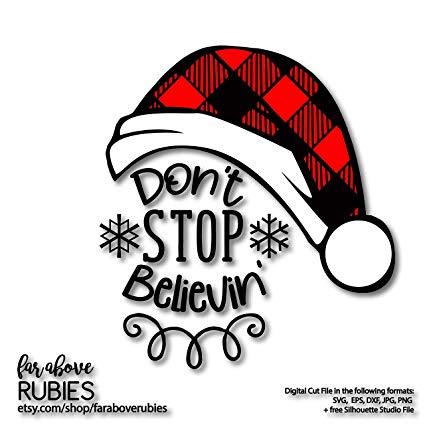 Amazon.com: Pene Buffalo Check Plaid Christmas Santa Hat Dont Stop.