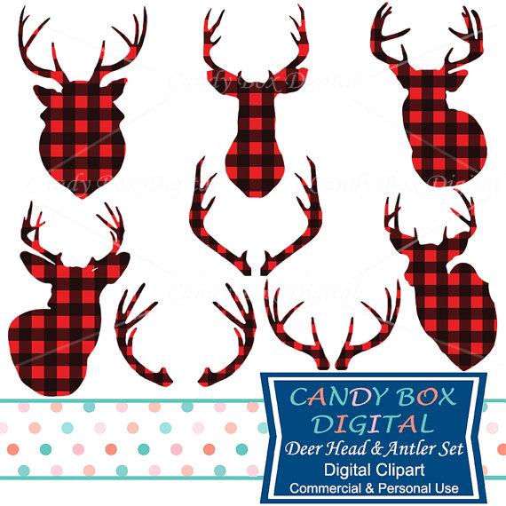 Deer Head and Antler Clipart, Red Buffalo Check Plaid Deer Clip Art.