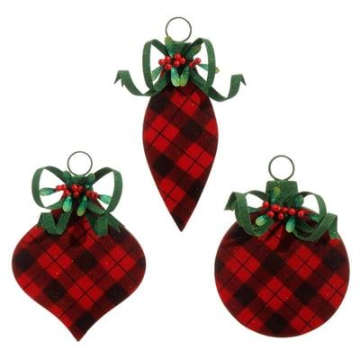 RAZ Flocked Buffalo Plaid Ornament Set of 3.