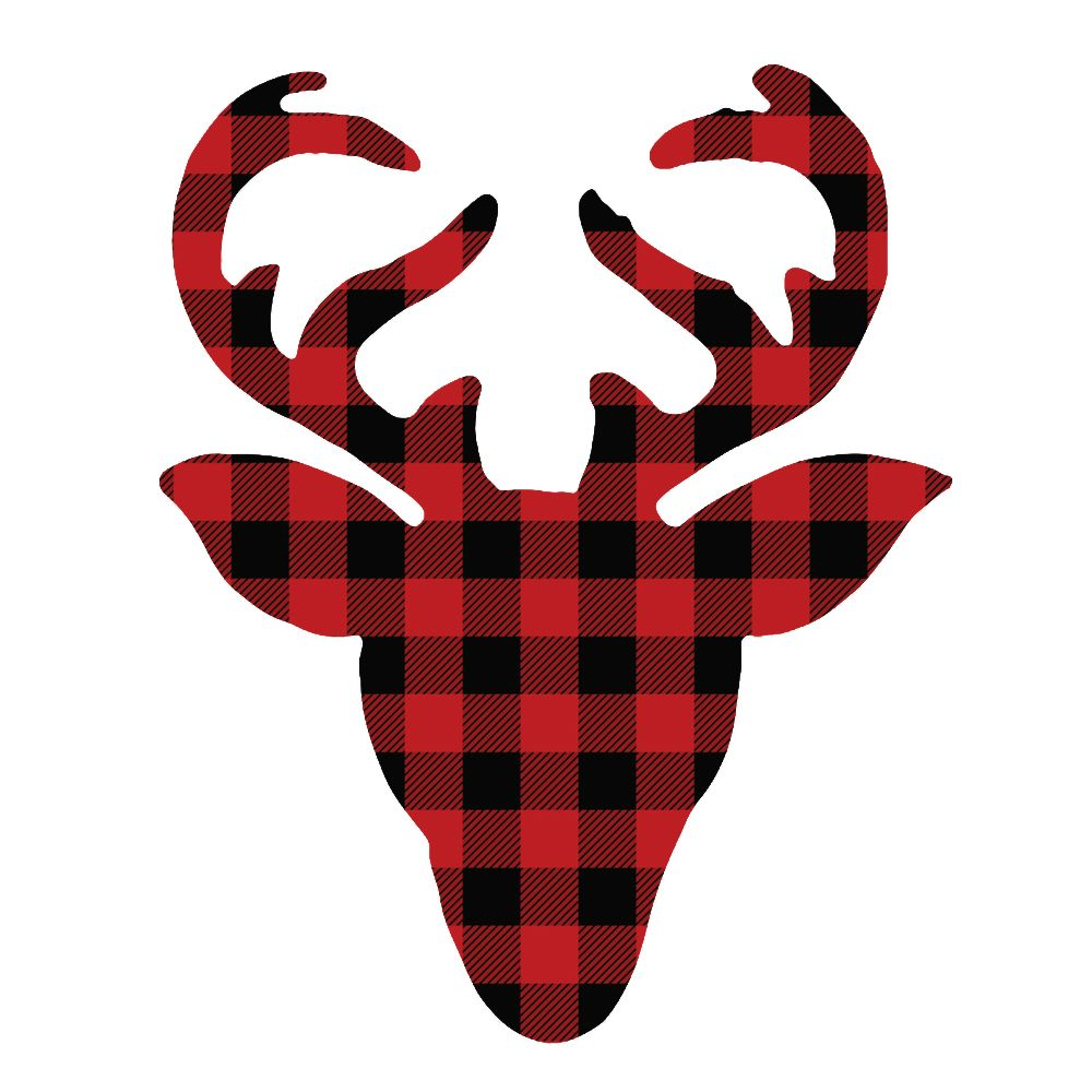 Red and Black Buffalo Check Deer Head.