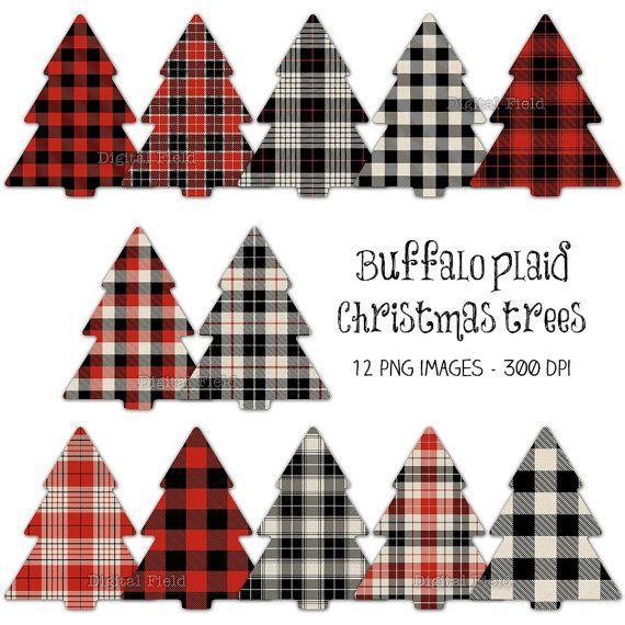 Buffalo plaid Christmas tree clip art set.