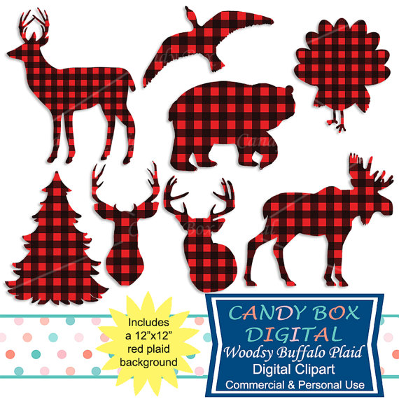 Buffalo Plaid Animal Clipart, Woodsy Red Check Clip Art, Bear, Moose.