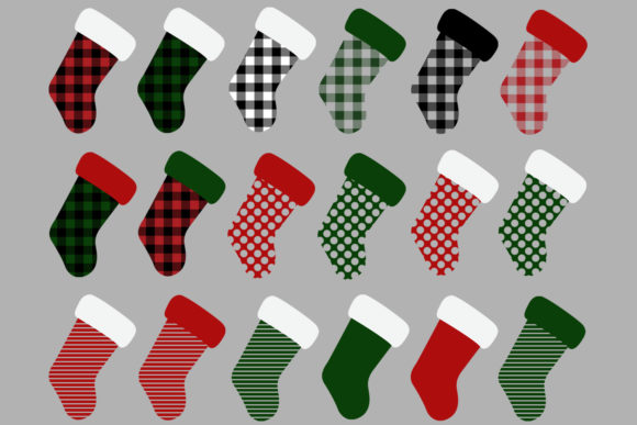 Christmas Stocking Buffalo Check Graphic.