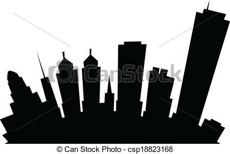 Clip Art Vector of Cartoon Buffalo City Skyline.