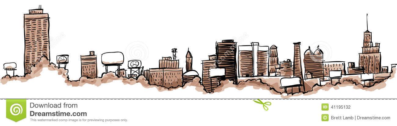 Buffalo City Skyline Stock Illustration.