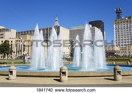 Stock Photography of Adam's Mark Hotel Fountain, Buffalo City, New.